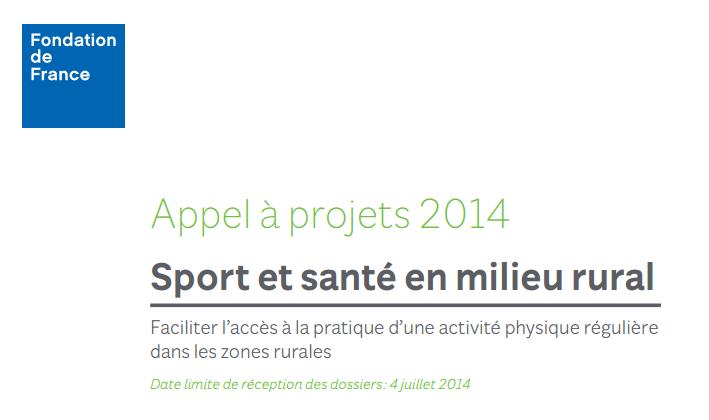 """Appel à projets """"Sport santé en milieu rural"""" 2014"""