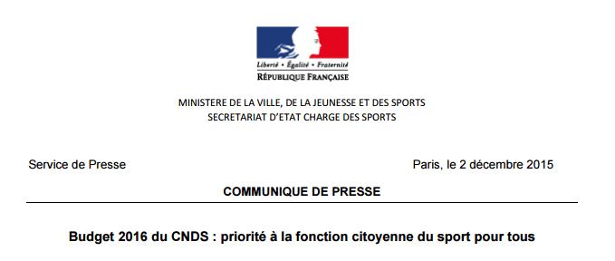 Budget 2016 du CNDS – Communiqué de Presse
